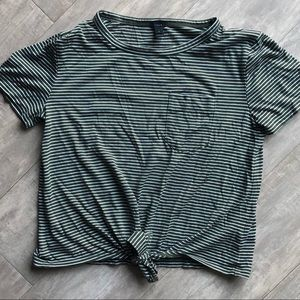 J.Crew green striped crop top in size S